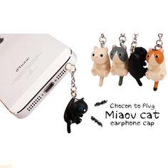 Adorable Grey Black White Lazy Cat Kitty Dust Plug 3.5mm Phone Plug iPhone 4 4S 5 5C 5S 6 Dust Plug Samsung Charm Headphone Jack Ear Cap de MilanDIY en Etsy https://www.etsy.com/es/listing/210981324/adorable-grey-black-white-lazy-cat-kitty