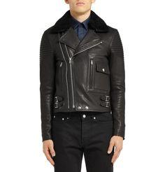 Givenchy - Shearling-Trimmed Leather Biker Jacket   MR PORTER