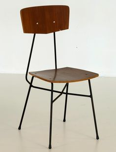 Enzo Strada; Plywood and Enameled Iron Chair, 1950s.