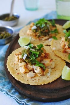 Fish Tacos with a Roasted Poblano Salsa / Bev Cooks