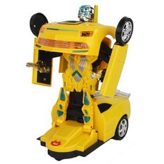 Bump and Go Battery Operated Transforming Action Combat Robot Yellow Chevy Coupe Sports Car with Lights, Sounds, Drives Around Ryder Paw Patrol, Combat Robot, Lead Acid Battery, Battery Operated, Walmart Shopping, Cool Toys, Bump, Chevy, Action