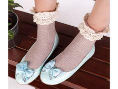 รองเท้าส้นเตี้ยแฟชั่นเกาหลีแต่งโบว์สวยนำเข้า 5สีพรีออเดอร์HS135-4