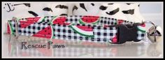Watermelon on Black white check Cat Collar by RescuePaws on Etsy