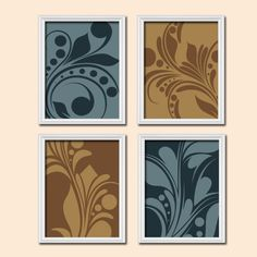 Colorful Bold Swirl Flourish Design Blue Navy Tan Brown Shades Artwork Set of 4 Prints Bedroom Wall Decor Art Pictures