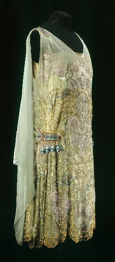 Circa 1925 Maison Agnès beaded and embroidered Evening Dress of green watered silk, Paris.