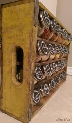 I created this coca-cola crate spice rack to keep all of our spice jars organized.