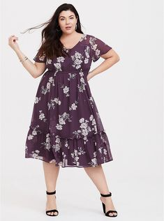 902dd301d0 Purple Floral Eyelet Chiffon Dress. Plus Size DressesPlus ...