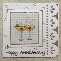 Anniversary card / cross stitch card / happy anniversary / handmade card by BunnybearDesignsUK on Etsy