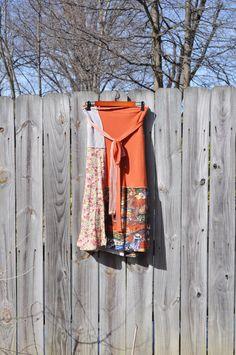Boho Rustic Wrap Skirt/ T Shirt Wrap Skirt  by RebirthRecycling, $65.00