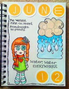 My go at Smashbooking! Art Journal Inspiration, Smash Book, Winnie The Pooh, June, Rain, Rain Fall, Winnie The Pooh Ears, Waterfall, Pooh Bear