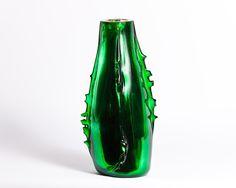 Florero Vintage de Murano/ Verde Vintage Murano Glass/ Green