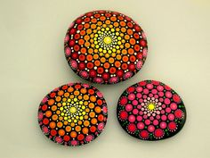 Mandala stones, Art teacher gift, paperweight, wedding guest book, painted by RockArtiste on Etsy Mandala Painted Rocks, Hand Painted Rocks, Painted Stones, Stone Painting, Rock Painting, Summer Table Decorations, Chakra Art, Unique Birthday Gifts, Stone Art