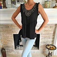 Beautiful ruffled rank with gold embroidery! Stunning fit! Must have -lightweight with gorgeous intricate design! LAST LARGE Tops Tank Tops