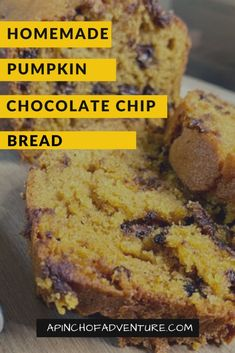 This homemade Pumpkin Chocolate Chip Bread recipe is super a easy and simple fall baking idea. If you are looking for a pumpkin dessert recipe that's easy, look no further. This pumpkin bread is made with chocolate chips and makes 3 whole loaves that can serve a crowd. It is very similar to Great Harvest's pumpkin chocolate chip bread and comes out moist. It is also freezes well and can be pulled out later for a tasty fall dessert idea. -APinchOfAdenture Pumpkin Chocolate Chip Bread, Pumpkin Bread, Pumpkin Recipes, Fall Recipes, Fall Desserts, Delicious Desserts, Fall Baking, Homemade Desserts, Pumpkin Dessert