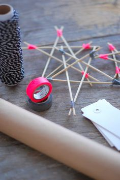 hot pink washi tape wooden star