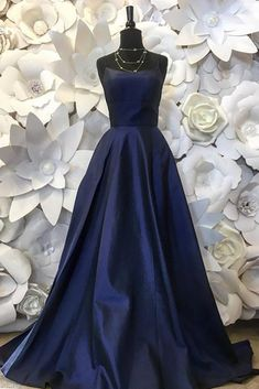 Deep Blue Satin A-line Prom Dresses Spaghetti Straps Formal Prom Gowns Women Party Dress A Line Prom Dresses, Party Dresses For Women, Prom Gowns, Satin Color, Blue Satin, Spaghetti Strap Dresses, Spaghetti Straps, Formal Prom, Ladies Party