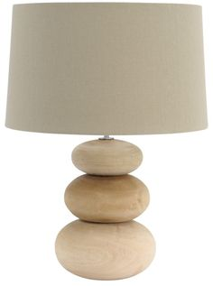 Wooden Pebble Table Lamp