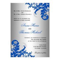 Summer Wedding Invitations Royal Blue and Silver Flourish Wedding Card