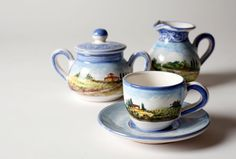 Estate Cream and Sugar Set with the espresso cup from the Quattro Stagioni collection | Hand-painted depicting the Four Seasons of Tuscany | Shop more at http://www.giardinidisole.com/shop-tabletop-ceramics