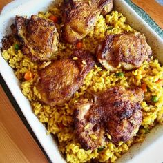 Easy Chicken and Rice: Try this with brown rice (you may need to bake 1 hour).