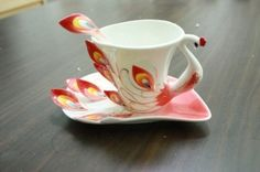 Porcelain Red Peacock tea coffee cup set by clarissa