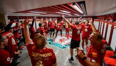 Dressing room photos: Champions celebrate Premier League glory Liverpool Premier League, Liverpool Fc, One Team, Dressing Room, Champion, Celebrities, Photos, Walk In Closet, Pictures