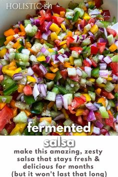 Love fresh salsa? Make this simple fermented salsa today and it will be ready to enjoy in just 2 days. Probiotic packed for better gut and immune health! Make sure to pin the recipe so you have it whenever you need it. #holisticish #fermentedfoods #freshsalsa #probiotics