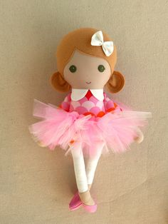 Fabric Doll Rag Doll Blond Haired Girl in Pink Scalloped Print Dress and Pink Tutu