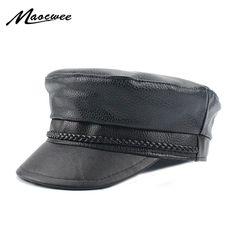 6d90fe5f49948 Barato Novo 2018 primavera pu chapéus de couro falso casual homens térmicos  chapéu militar curto brim