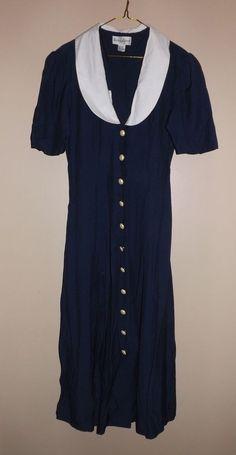 Vintage Woman's Long Navy Blue Dress with White Collar - Betsy Lauren Size 9/10 #BetsyLauren #ShirtDress