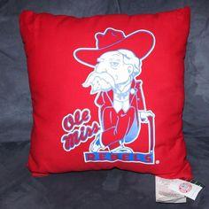 """Vintage Ole Miss Rebels Pillow Colonel Reb Mississippi Red Vintage NWT 16"""" x 16"""" #OleMissRebels"""