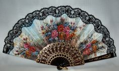 Printed Spanish Hand Fans With Lace - Abanicos con Puntilla