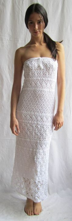 Strapless crochet Mykonos dress with removable lining by Anna Kosturova