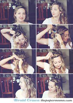 Braid Crown Hair Tutorial by The Paper Mama, via Flickr