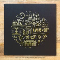 Screenprinted with a metallic gold ink on black or white paper, this print shows off many of the famous landmarks of Kansas City. Show your love