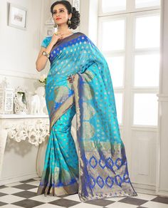 Buy Sky Blue Banarasi Silk Saree With Blouse 64064 with blouse online at lowest price from vast collection of sarees at Indianclothstore.com.