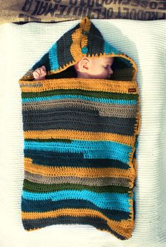 SLEEP SACK for baby crocheted striped via etsy