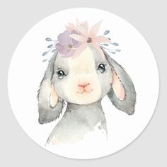 Cute Watercolor Baby Lamb with Flowers Classic Round Sticker Easy Watercolor, Watercolor Animals, Watercolor Cards, Watercolor Paintings, Watercolour, Easter Drawings, Baby Animal Drawings, Cute Drawings, Lamb Drawing