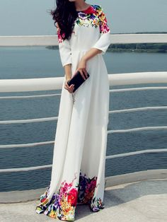 Shop White Round Neck Florals Maxi Dress online. SheIn offers White Round Neck Florals Maxi Dress & more to fit your fashionable needs.