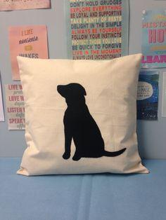 Natural Cream & Black Labrador Cushion Pillow Cover Dog Applique Animal Pet…