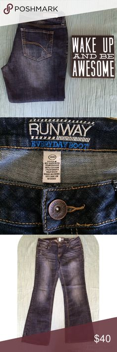 """REFUGE Runway Everyday Boot Cut Jeans 10S REFUGE Runway Everyday Boot Cut Jeans in 10S. Dark blue/black wash with front whiskering and distressing front and back. Color is most accurate in first photo. GUC. Slight fraying on one hem, no other rips or stains. Waist measures 16 1/2"""" flat across at back. Inseam is 29"""". Front rise 8"""", rear rise 14"""". Leg opening is approximately 17"""" around. refuge Jeans Boot Cut"""