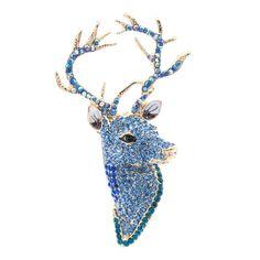 Rhinestone Reindeer Deer Head Brooch