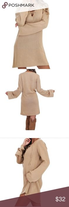 Khaki dress This dress is loose fitted, and true to your size. It is khaki with belled long sleeves. It has a v neck with lace up detailing that can be adjusted. Soft to touch material. Polyester, cotton, spandex. Sits above knees. This dress is so comfortable. boutique item Dresses
