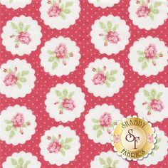 """Lulu Roses PWTW094-REDXX Red Lotti by Tanya Whelan for Free Spirit Fabrics: Lulu Roses is a collection by Tanya Whelan for Free Spirit Fabrics. This fabric features rose bouquets in scalloped cameos on a red background.Width: 43""""/44""""Material: 100% CottonSwatch Size: 6"""" x 6"""""""