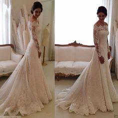Elegant White/Ivory Lace Off-Shoulder Long Sleeve Wedding Dress bridal gown