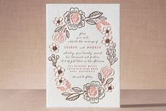 """""""Botanical Wreath"""" - Floral & Botanical, Hand Drawn Letterpress Wedding Invitations in Petal by Alethea and Ruth."""