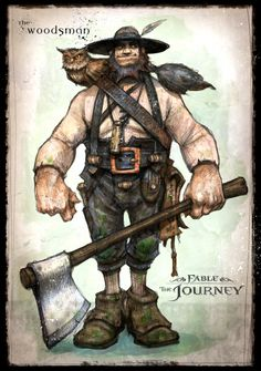 Fable the Journey: Fergus. Fergus was a woodsman from Woodseed in Thorndeep who lost his wife Peg to Balverines. Guilt travelled with him always as he left his wife to die. Because of his actions in the past, he helped to save Gabriel from the Devourer. Fable 2, The Woodman, Wars Of The Roses, Fantasy Characters, Fictional Characters, Fairy Doors, Fantasy Character Design, Cover Art, Mythology