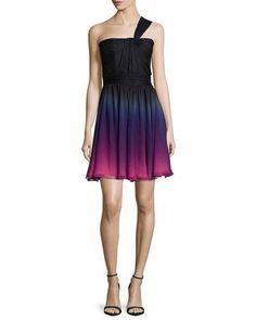 HALSTON HERITAGE One-Shoulder Degrade Cocktail Dress, Orchid. #halstonheritage #cloth #