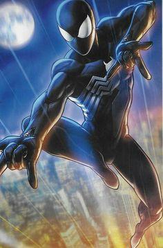 Symbiote Spider-Man Marvel Battle Lines Variant Cover by Jong-Ju Kim Black Spiderman, Deadpool Y Spiderman, Marvel Dc, Marvel Comics, Marvel Heroes, Storm Marvel, Venom Comics, Spectacular Spider Man, Amazing Spider