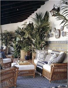 Wicker, cushions, plates & plants